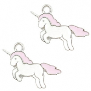 Basic Quality metalen bedels unicorn Silver-light pink