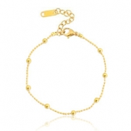 Roestvrij stalen (RVS) Stainless steel armbanden ball chain Gold