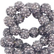 Strass kralen 10mm Anthracite grey