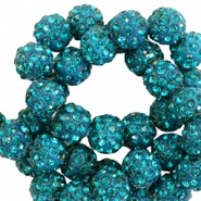 Strass kralen 10mm Petrol green