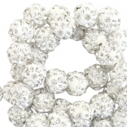 Strass kralen 8mm Silver white
