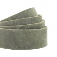 Plat 20 mm DQ leer Dark olive green
