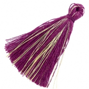 Kwastjes basic goldline 3cm Aubergine purple