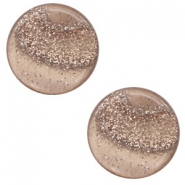 12 mm platte cabochon Polaris Elements stardust Taupe brown