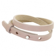 Cuoio armbanden leer 8 mm dubbel voor 12 mm cabochon Rose taupe