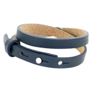 Cuoio armbanden leer 8 mm dubbel voor 12 mm cabochon Dark midnight blue
