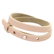Cuoio armbanden leer 8 mm dubbel voor 12 mm cabochon Blush pink