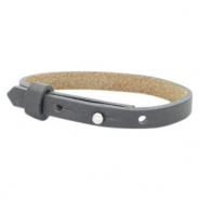 Cuoio armband leer kids 8mm voor 12mm cabochon Lava grey
