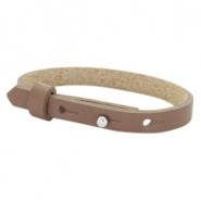 Cuoio armband leer kids 8mm voor 12mm cabochon Medium brown