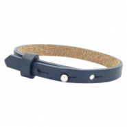 Cuoio armband leer kids 8mm voor 12mm cabochon Dark midnight blue