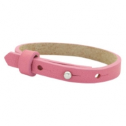 Cuoio armband leer kids 8mm voor 12mm cabochon Peonia pink