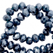 Top Facet kralen 4x3 mm disc Dark blue-pearl shine coating