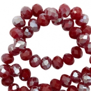 Top Facet kralen 4x3 mm disc Rumba red silver-pearl shine coating