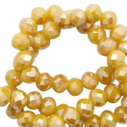 Top Facet kralen 6x4 mm disc Warm yellow gold-pearl shine coating