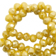 Top Facet kralen 4x3 mm disc Mustard yellow-pearl shine coating