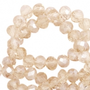 Top Facet kralen 6x4 mm disc Champagne-pearl shine coating