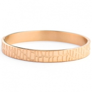 Roestvrij stalen (RVS) Stainless steel armbanden crocodile Rose gold