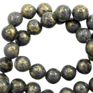 4 mm natuursteen kralen rond jade Gold-dark denim blue