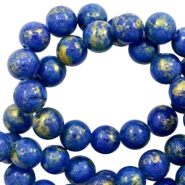 4 mm natuursteen kralen rond jade Gold-princess blue