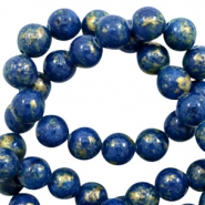 4 mm natuursteen kralen rond jade Gold-estate blue