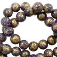 4 mm natuursteen kralen rond jade Gold-imperial purple