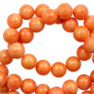 4 mm natuursteen kralen rond jade Gold-tangerine orange