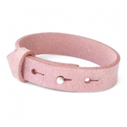 Cuoio armbanden leer 15 mm voor 20 mm cabochon Soft misty rose