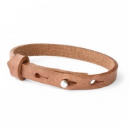 Cuoio armband leer kids 8mm voor 12mm cabochon Auburn brown