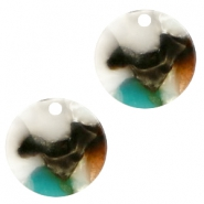 Resin hangers 12mm rond Turquoise-bruin