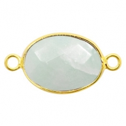Half edelsteen hangers/tussenstukken ovaal 18x14mm amazonite Gold-Light crysolite green