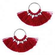 Kwastjes hanger Silver-port red