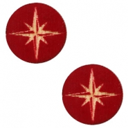 Houten cabochon ster 12mm Dark red