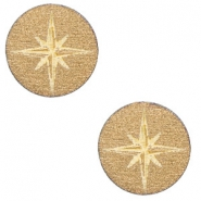 Houten cabochon ster 12mm Gold