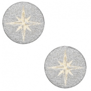 Houten cabochon ster 12mm Silver