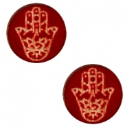 Houten cabochon Hamsa hand 12mm Dark red