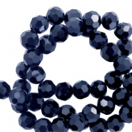 Top Facet kralen rond 4 mm Hematite blue
