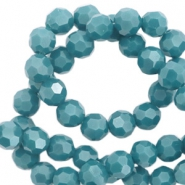 Top Facet kralen rond 8 mm Mosaic blue-pearl shine coating