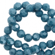 Top Facet kralen rond 4 mm Dark mosaic blue-pearl shine coating