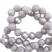 Top Facet kralen rond 8 mm Stone grey-pearl shine coating