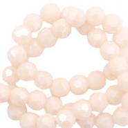 Top Facet kralen rond 6 mm Beige nude peach-pearl shine coating