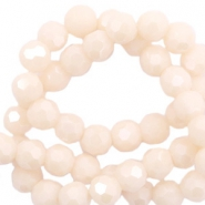 Top Facet kralen rond 4 mm Beige nude peach-pearl shine coating