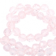 Top Facet kralen rond 8 mm Crystal light pink-pearl shine coating