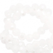 Top Facet kralen rond 6 mm White-pearl shine coating