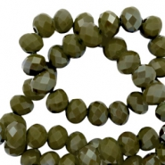 Top Facet kralen 3x2 mm disc Dark olive green-pearl shine coating