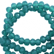 Top Facet kralen 3x2 mm disc Teal green-pearl shine coating