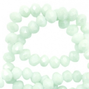 Top Facet kralen 3x2 mm disc Soft turquoise green-pearl shine coating