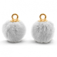 Pompom bedels met oog faux fur 12mm Light grey-gold