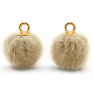 Pompom bedels met oog faux fur 12mm Taupe brown-gold
