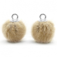 Pompom bedels met oog faux fur 12mm Taupe brown-silver