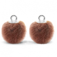 Pompom bedels met oog faux fur 12mm Red brown-silver
